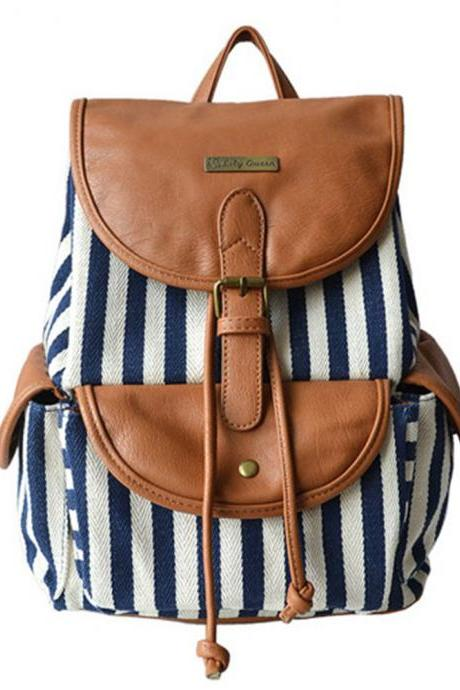 Fashion Contrast Color Canvas Backpack Travelling Bag