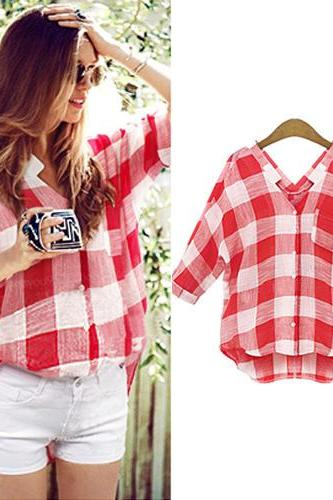 Fashion Contrast Color Grid Pattern V-Neck Shirt