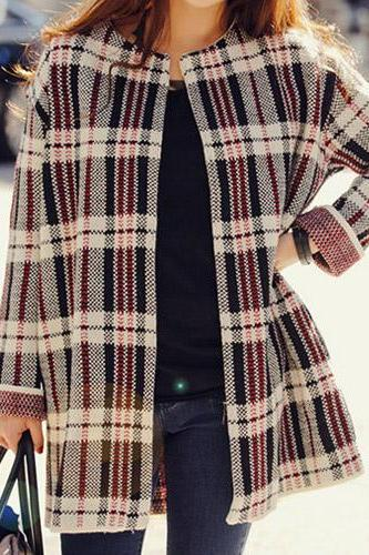 Fashion Grid Pattern Loose Knitted Cardigan Coat