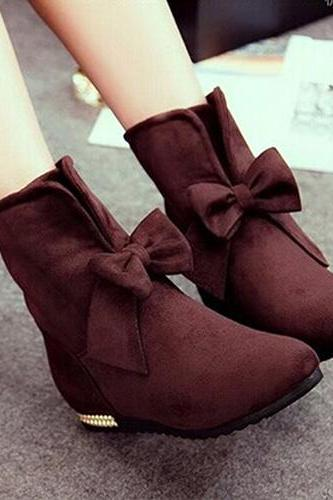 Fashion Round Toe Flat Heel Bowknot Booties