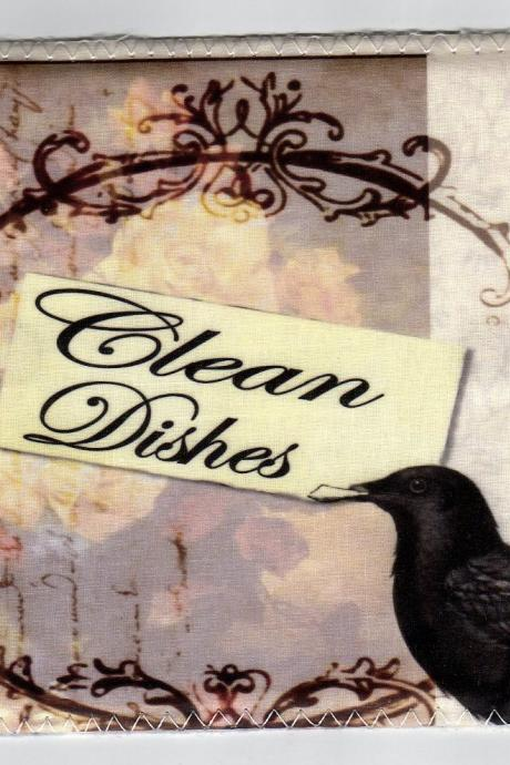 Dishwasher magnet Clean Dirty dishes Flip Sign Victorian Crow shabby chic