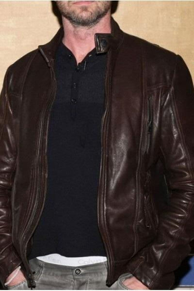 OLYMPUS HAS FALLEN MB GERARD BUTLER LEATHER JACKETS, BROWN BIKER LEATHER JACKET
