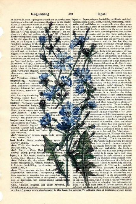 Dictionary Book Page Art print Chicory herb