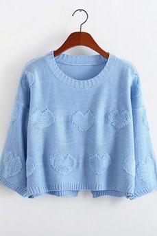 2014 New Style Women/Girl Back Open Fork Loose Pullover Top Kint Sweater With Sweet Heart-Color Blue