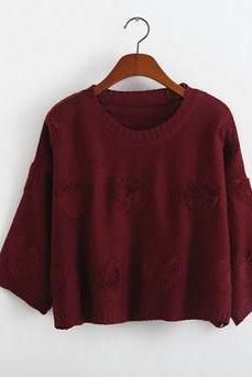 2014 New Style Women/Girl Back Open Fork Loose Pullover Top Kint Elegant Sweater With Sweet Heart-Color Burgundy