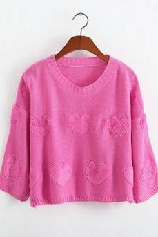 2014 New Style Women/Girl Back Open Fork Loose Pullover Top Kint Sweater With Sweet Heart-Color Pink