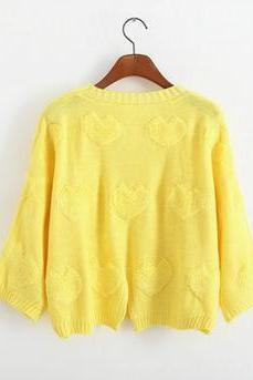 2014 New Style Women/Girl Back Open Fork Loose Pullover Top Kint Sweater With Sweet Heart-Color Yellow
