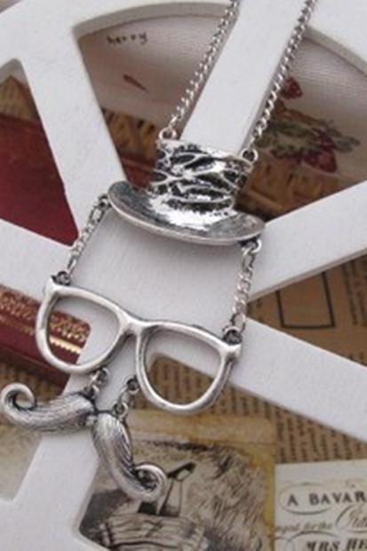 Fashion personality hats glasses mustache necklace, silver Color
