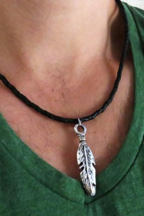 Men's Necklace - Men's Feather Necklace - Men's Silver Necklace - Mens Jewelry - Necklaces For Men - Jewelry For Men - Gift for Him