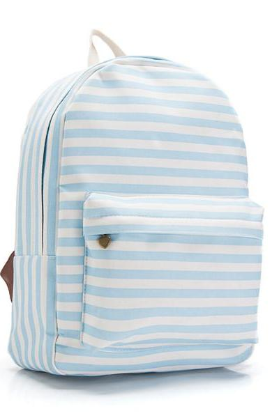Striped Canvas Backpack with Heart Shaped Zipper