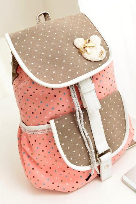 Cute Pink Polka Dots Design Backpack