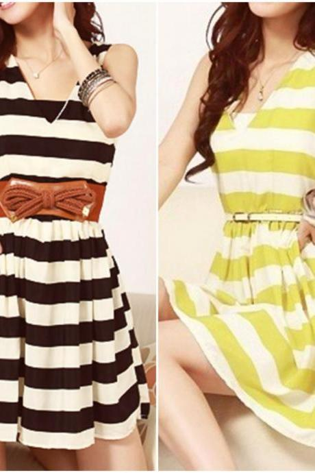 Cute V Neck Stripes Skater Dress With Belt In 2 Colors