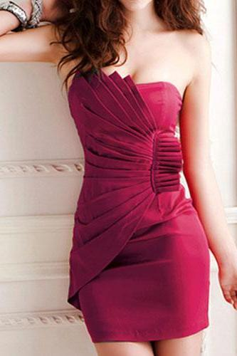 Burgundy Bodycon Evening Party Draped Bandeau Boob Tube Dress