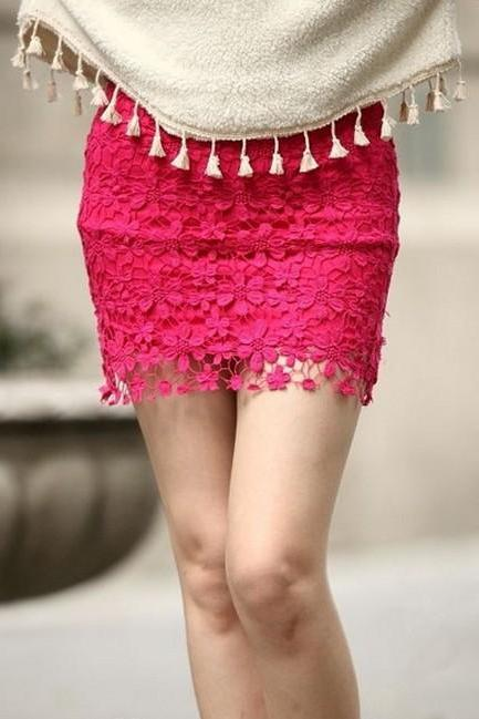 Red High Waisted Lace Mini Dress Red