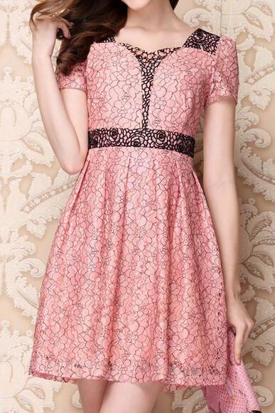 Short-Sleeved Lace Dress Ca922Ei