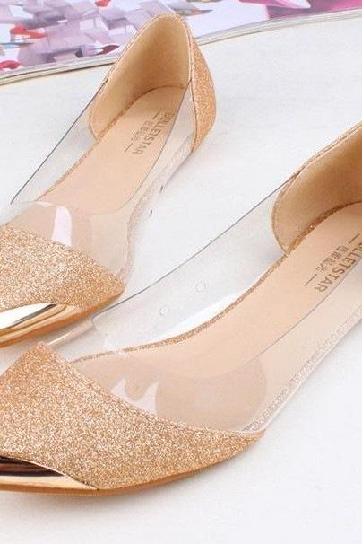 Glittered Pointed-Toe Flats with Transparent Panels