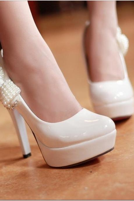 Ultra- High Heels Shoes Diamond Pearl Bow Heels