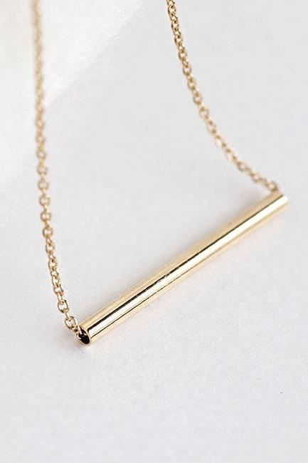 Gold Bar Necklace, Slim Straight Tube Bar, Minimalist Jewelry, Option on Mix Metal