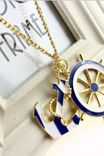 Navy anchor necklace
