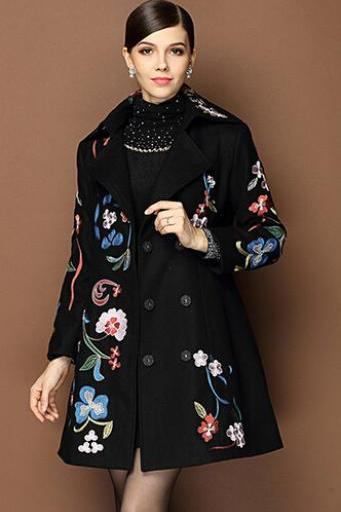 2015 new winter the middle-aged lady mother double breasted loose big code long coat