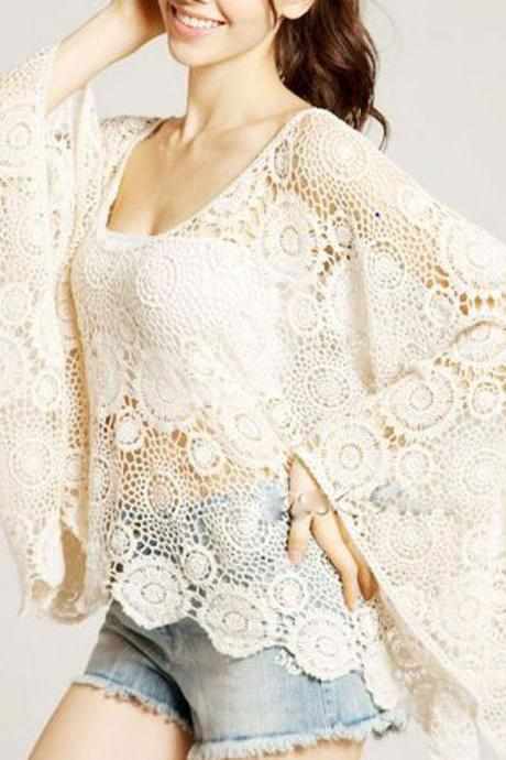 Women Vintage Sweet Lace Floral Hollow Crochet Loose Batwing Blouse Shirt Tops