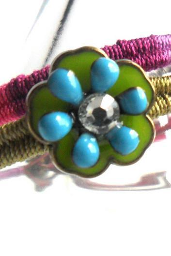 Friendship Bracelet, Leather Woven in multicolored cotton, Enamel crystal Flower, Vineyard summer, 2012 trendy for her under 20