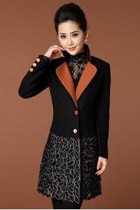 Autumn Ladies European And American Heavy Hook Flower Embroidery Embroidery Self-Cultivation Wool Coat