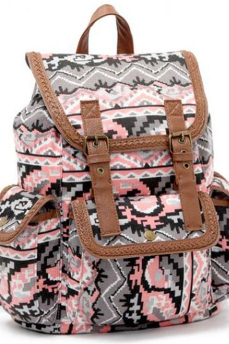 Fashion Printed Buckle Drawstring Backpack School Shoulder Bag