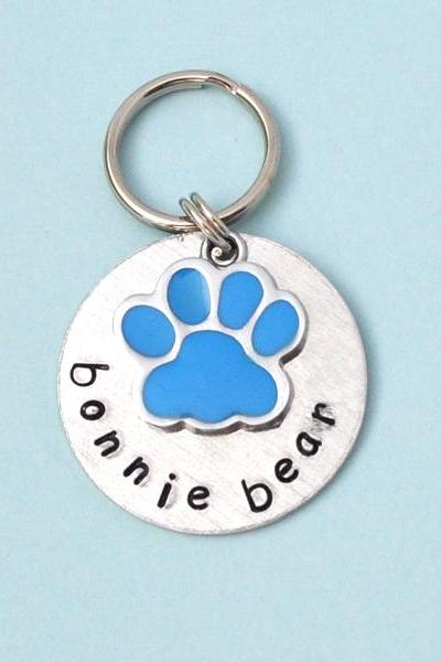 Paw Print blue or pink Custom Pet id tag