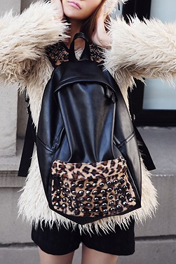 Cool Fashion Pu Leopard Rivet Backpack/bag