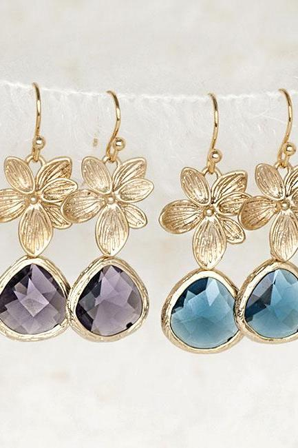 Blue Purple Flower Petal Leaf Drop Dangle Earrings, Cocktail Gala Wedding Jewelry