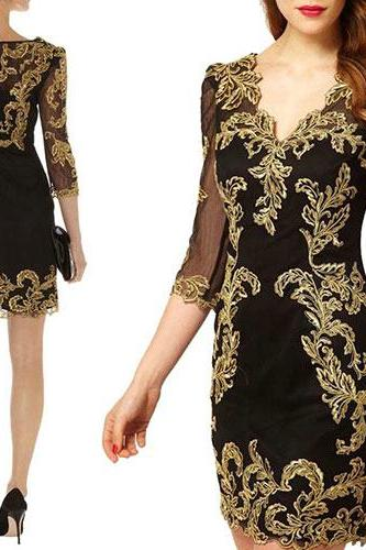 Three Quarter Sleeves Sexy V Neck Embroidery Mesh Dress