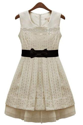 Tiered Bow Belted Mesh Lace Tank Prom Dress Vintage Tunique