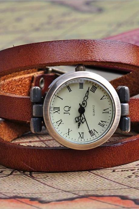 Wrap bracelet leather strap girl watch