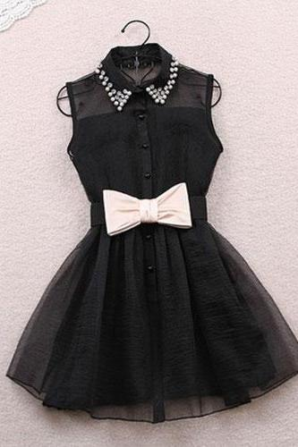 Sexy Semi-Sheer Rhinestone Bowknot Bubble Party Dress