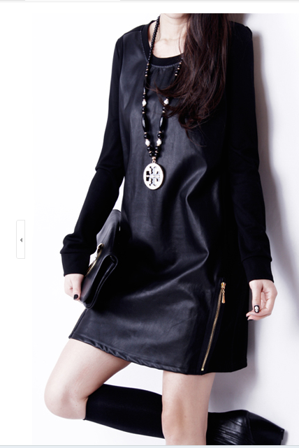 Early autumn the new big yards women's long sleeve cultivate one's morality joker package buttocks round collar dress