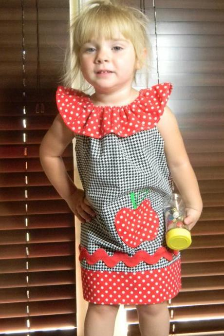 Girls Peasant Dress Any Size 'Sarah' Red Apple Appliqued Black and White Houndstooth Red Polka Dot
