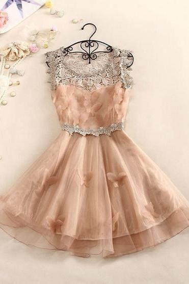 Sweet And Elegant Crochet Butterfly Organza Dress A 082609