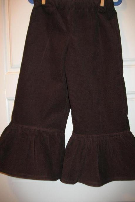 Girls Ruffle Pants Corduroy Any size Brown Corduroy Ruffle Pants Girls Toddlers