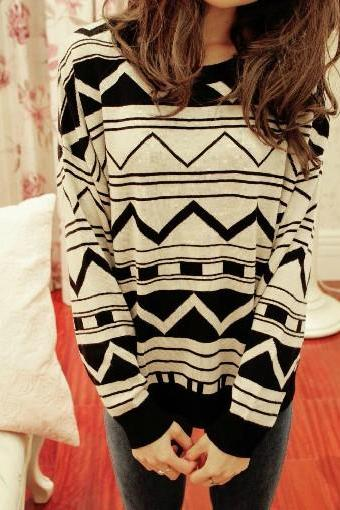 White & Black Aztec Sweater
