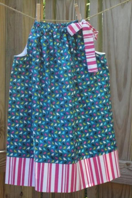 Girls Pillowcase Dress, size 3, 'Birdie' Teal Blue Birds Pink Stripes