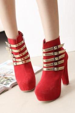 Spring And Autumn Red Chunky Heel Fashion Martens Boots