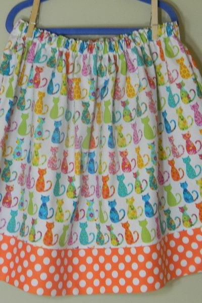 Girls Skirt Size 5 Twirl Skirt Calico Cats Polka Dots Michael Miller Cotton, Orange Pink Green Yellow Blue