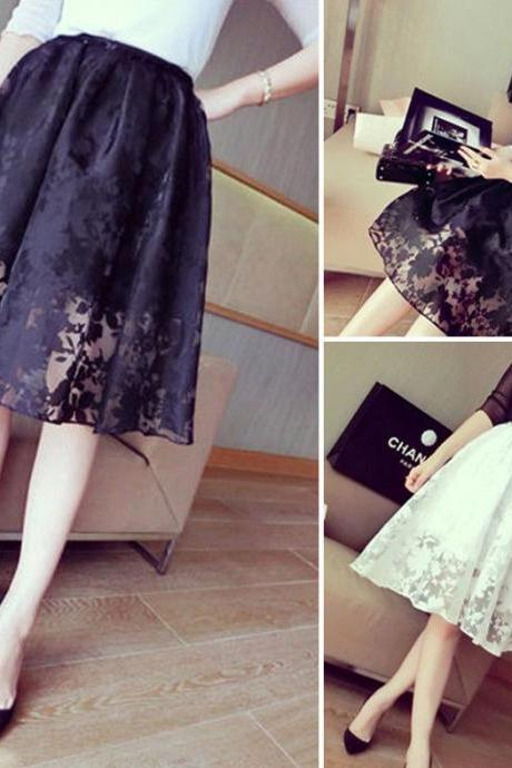 Women Double Layer Pleated Maxi Dress Long Lace Floral Elastic Waist Skirt debs