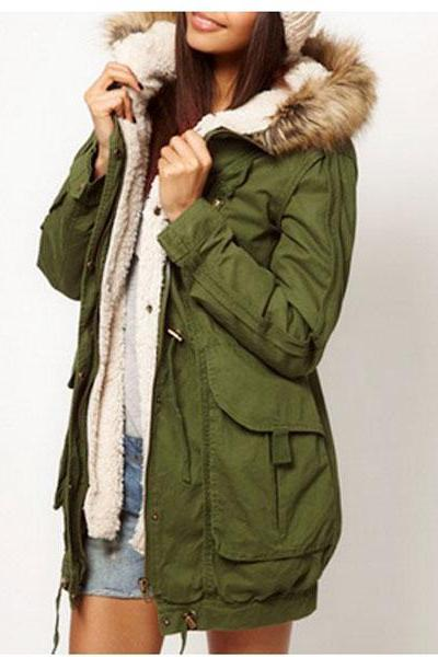Women Warm Thicken Fleece Zip Casual Parka Long Jacket Overcoat XS - L