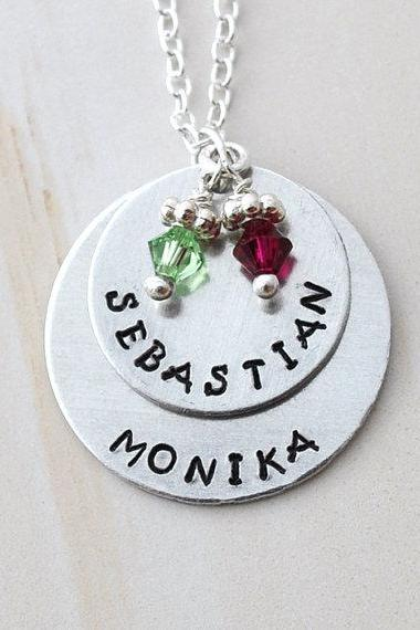 Mother Necklace Personalized birth stone necklace mommy necklace kids name
