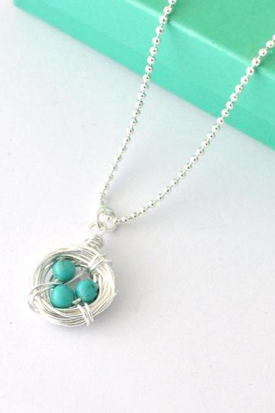 turquoise Silver Robin's Eggs nest Necklace, egg necklace