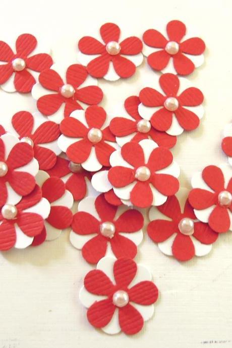 Teeny Tiny Red and White Flowers - Set of 20