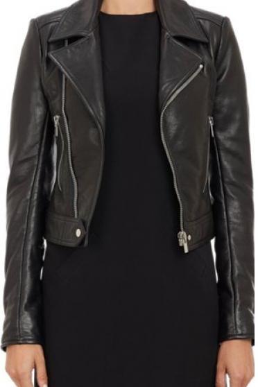 WOMENS BIKER JACKET, BLACK COLOR WOMEN JACKET, WOMEN REL LEATHER FASHION JACKETS