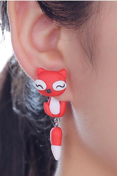 Polymer Clay Red Fox Earrings